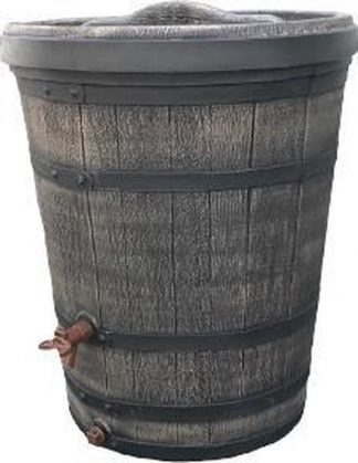 Regenton kunststof houtnerf taps 130 L